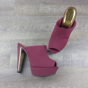 Burgundy Slip On Platform Mules